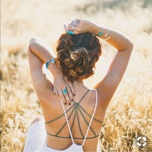 Free People Strappy Back Bralette Teal